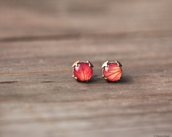 Rose stud earrings - Red flower earrings - Tiny stud earrings - Red rose studs - red stud earrings - Rose petal jewelry (E137)