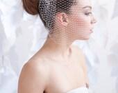 Birdcage veil,  vintage veil, small veil, ivory veil - ready to ship - FREE SHIPPING*
