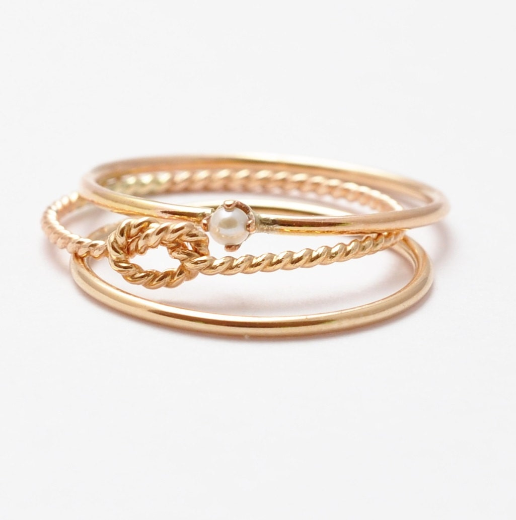 Thin Gold Rings Seed Pearl Ring Yellow Gold Band Twist Knot