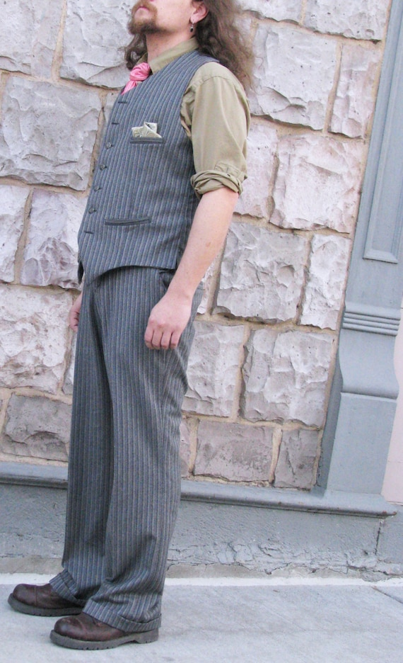 1940s Style Men's Pants and Trousers Custom Wide Leg Pants $345.00 AT vintagedancer.com