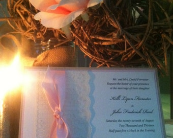 Vintage Lace and Ribbon All Wrapped Up Wedding Invitations by Kim Boyce Designs