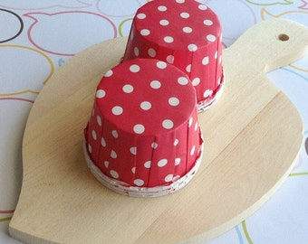 25 Polka Dots Red Baking Cups