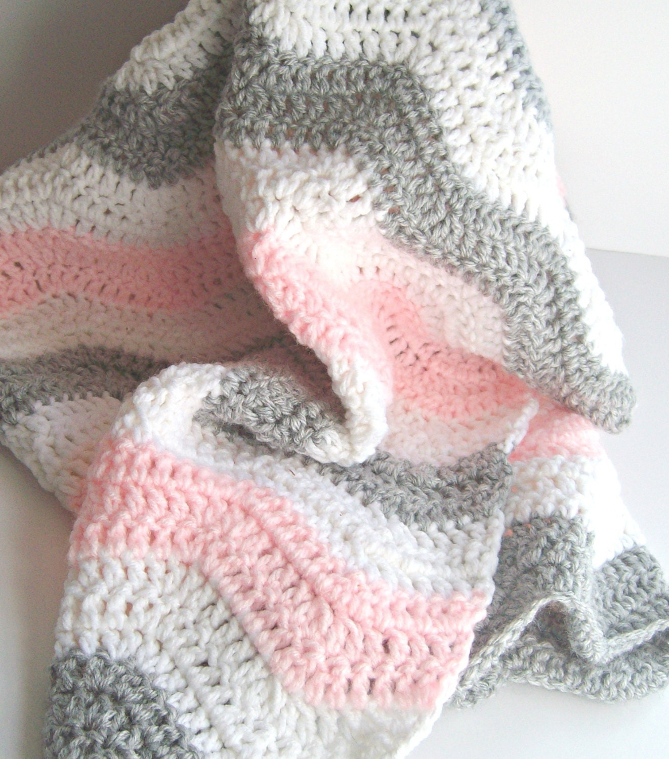 Pink And Gray Chevron Baby Blanket Crochet By