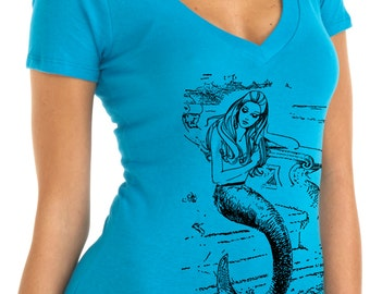 mermaid shirt - vintage design MERMAID t-shirt - women's deep v-neck turquoise t-shirt