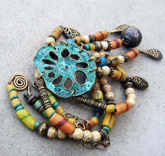 Long Tribal Necklace - African Asian Connection, Lost Wax Cast, Root of the Lotus Flower, Lotus Seed Beads, Colorful, Ethnic, Organic