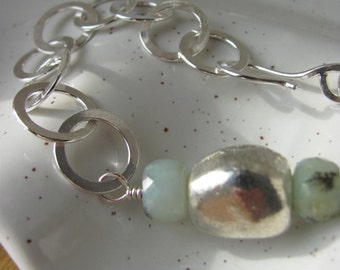 Handmade Sterling Peruvian Opal Bracelet