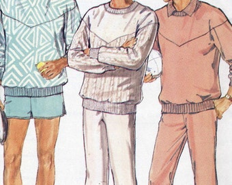 Vintage Butterick 5916 UNCUT Mens Casual Top Pants and Shorts Sewing Pattern Size L -XL
