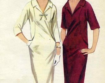 Vintage 60s Butterick 3293 UNCUT Misses Unique Sheath Dress Sewing Pattern Size 18 Bust 38