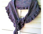 Ruffle Scarf Shawl Shawlette, Fichu Style, Hand Knit Wool Hemp Yarn, Made to Order in 8 Different Colors