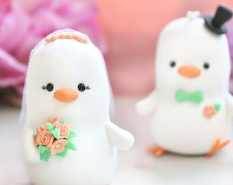 Unique Love Birds Wedding cake toppers Chicks - custom bride groom wedding figurines - white pastel colors spring peach mint green ivory