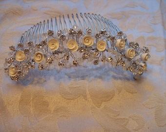 Brides Porcelain rose and rhinestone bridal comb wedding bridal vintage inspired tiara