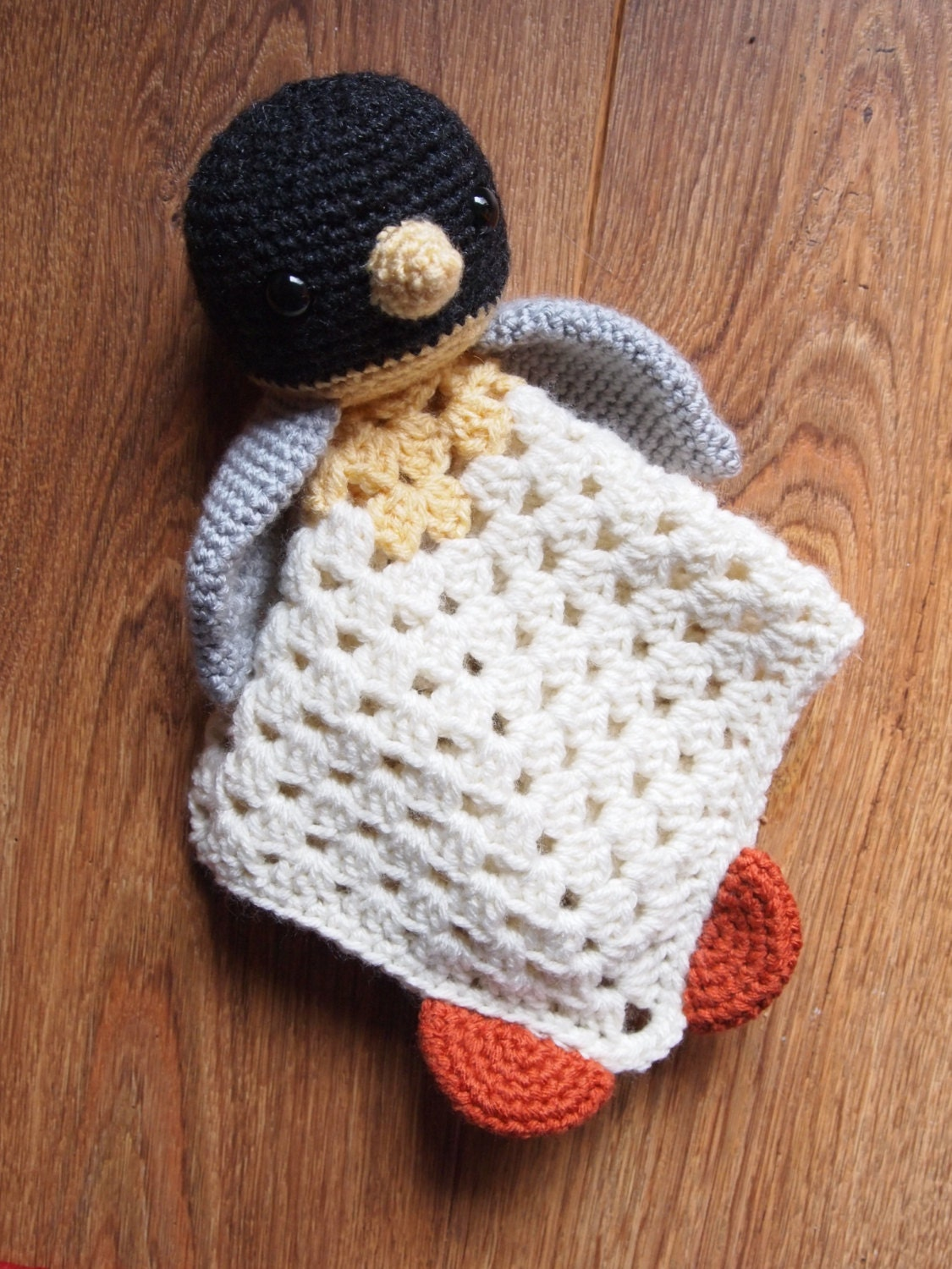 Crochet Pattern For Baby Security Blanket : Baby Penguin Crochet Security Blanket Lovie Doll