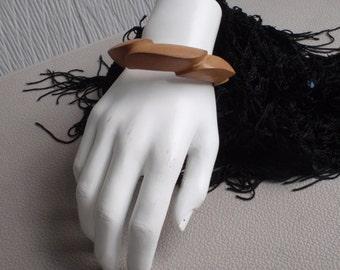 Vintage Wooden Bangle Bracelet Signed Magda K