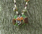Earth Tone OWL Beaded Necklace - Hand Sculpted Polymer Clay Women's Jewelry