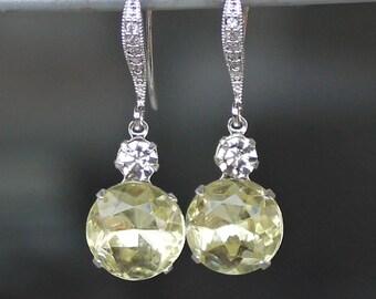 Silver and Sparkling Pale Lemon Yellow Swarovski Crystal Dangle Earrings