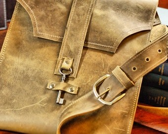 Distressed Brown Leather Messenger Bag - Boho Bag with Antique Key - Vintage Steampunk