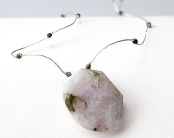 Blue Lace Agate and Lolite Gemstone Choker Necklace