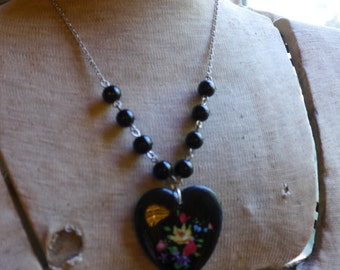 Heart Necklace, Valentines Day, Vintage Black Heart Necklace, Heart Charm from West Germany
