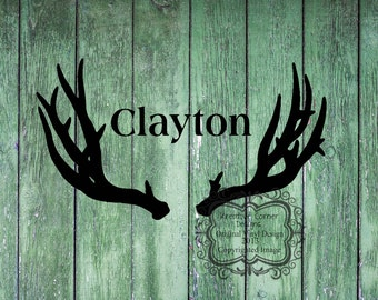 Antlers with Custom Name Vinyl Decal