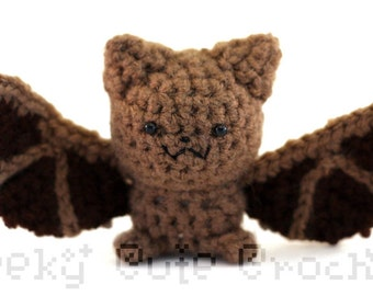 Little Brown Bat Amigurumi Crocheted Plush Toy Halloween