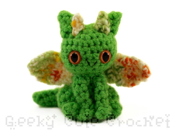 Dragon Amigurumi Crocheted Toy green by GeekyCuteCrochet ...