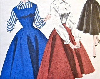 Vintage 50s Butterick 7456 Sewing Dress Pattern  Fitted Bodice Full Skirt     bust 32 hip 35