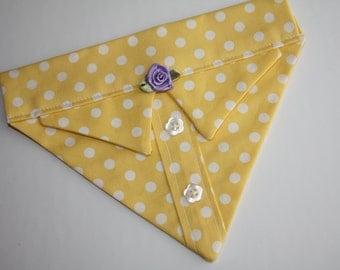 Yellow Polka Dot Dog Bandana Sz S