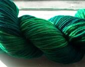 Malachite Green Hand Dyed Sock Yarn