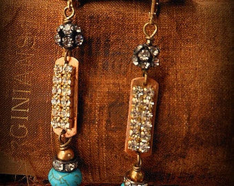 Vintage Brass ID Tag and Turquoise Earrings
