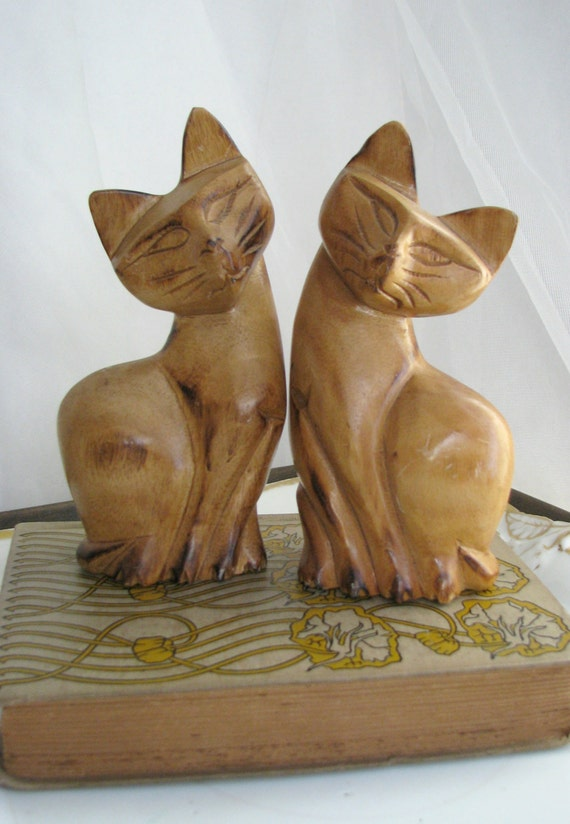 Items similar to vintage pair cats wooden wood hand