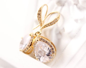 Bridal Jewelry Wedding Jewelry Gold Cubic Zirconia Bridal Earrings Anna