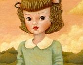 Deer Girl Print 8x10 - Deer, Children's Art, Nursery Art, Pastels, Antlers, Peter Pan collar, Kids, Pink, Peach, Mint, Cute, Whimsical