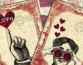 Love is in the Air Steampunk Valentine Digital Collage Sheet 3.5x4.5 - Set of 8 tags greeting cards postcard ATC ACEO - U Print 300dpi jpg