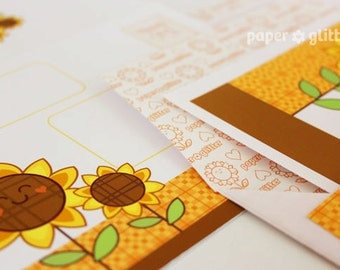 Thankful Thanksgiving Kawaii Sunflower Stationery Set Printable PDF