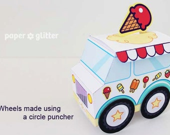 Ice Cream Party Favor Box Truck Paper Craft Toy White - Editable Text Printable PDF