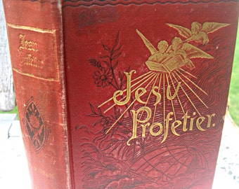 Antique Danish religious book, red covers with gold angels, gorgeous Victorian book, 1800's book, antique Danish book illustrated book