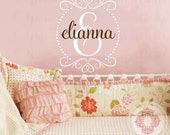 Single Initial and Heart Polka Dot Circle Frame Wall Decal - Monogram for Baby Nursery Teen or Family Name Entryway 26h x 22w FN0397