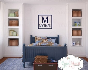 Modern Name Wall Decal with Initial and Square Border - Baby Nursery Boy or Teen Personalized Monogram Wall Decal BA0191