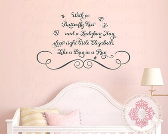 With a Butterfly Kiss and a Ladybug Hug Nursery Wall Decal - Ladybug and Butterfly Baby Girl Vinyl Decal with Name BA0377