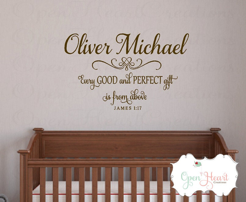 Every Good And Perfect Gift Is From Above Wall Decal With - Personalized wall decals for nursery