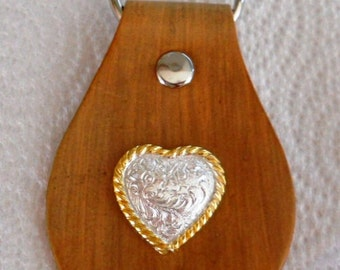 Leather Keychain with High Sierra Heart Concho