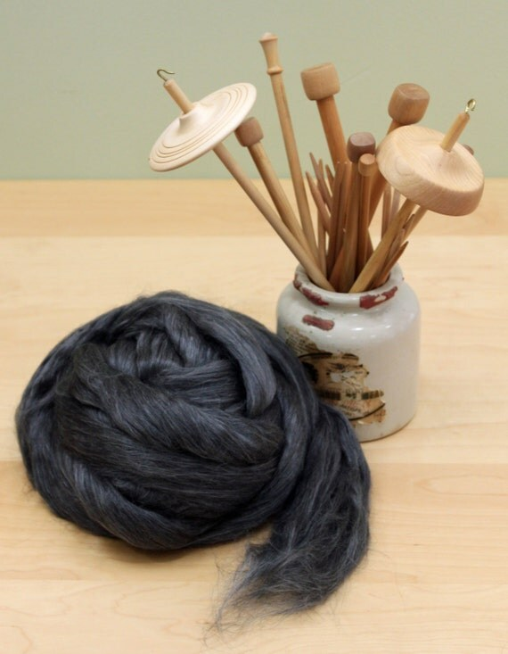 Black Alpaca/ Cultivated Silk Roving - Undyed Fiber for Spinning (8oz)