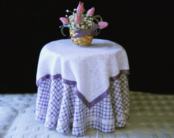 1/12 Scale (Dollhouse) Double Cloth Covered Table in Purple Tattersall with Satin Ribbon Trim - Indoor Fairy Garden