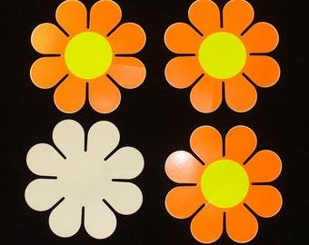 Set of 4 Day Glow Flower Power Stickers DEADSTOCK