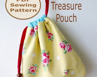 Easy Beginner Treasure Pouch PDF Bag Sewing Pattern | Drawstring Pouch Pattern | Embroidered Drawstring Pouch Pattern | Bag Sewing Pattern