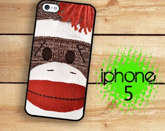 iPhone 5S SE Sock Monkey Vintage Retro Childs Toy Plastic or Rubber Case for iPhone 5 iPhone 5S