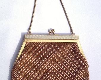 Swanky Vintage 1960s Gold Studded Evening Bag Purse.