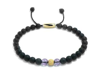 Layering Bead Bracelet 6mm Obsidian, Gold & Amethyst