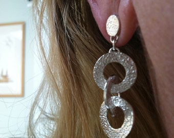 3 Circles Intertwined Fine Silver Post Earrings