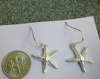 Starfish Dangle Fine Silver Earrings on Sterling French Hook, FREE FAST Shipping USPS Priority Mail